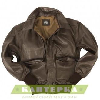Кожаная летная куртка А2  коричневая
